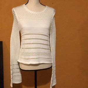 Rebecca Minkoff White Long Sleeve Knitted Sweater